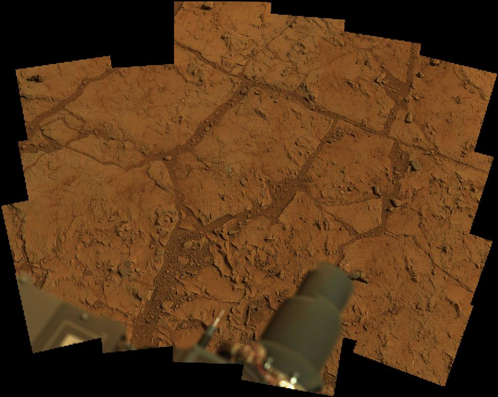 "NASA's Mars rover Curiosity used its Mast Camera (Mastcam) to take the images combined into this mosaic of the drill area, called ""John Klein."""