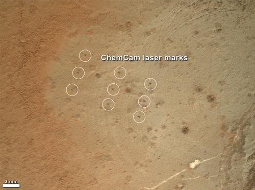 This image from the Mars Hand Lens Imager (MAHLI) on NASA's Mars rover Curiosity shows details of rock texture and color in an area where the rover's Dust Removal Tool (DRT) brushed away dust that was on the rock.