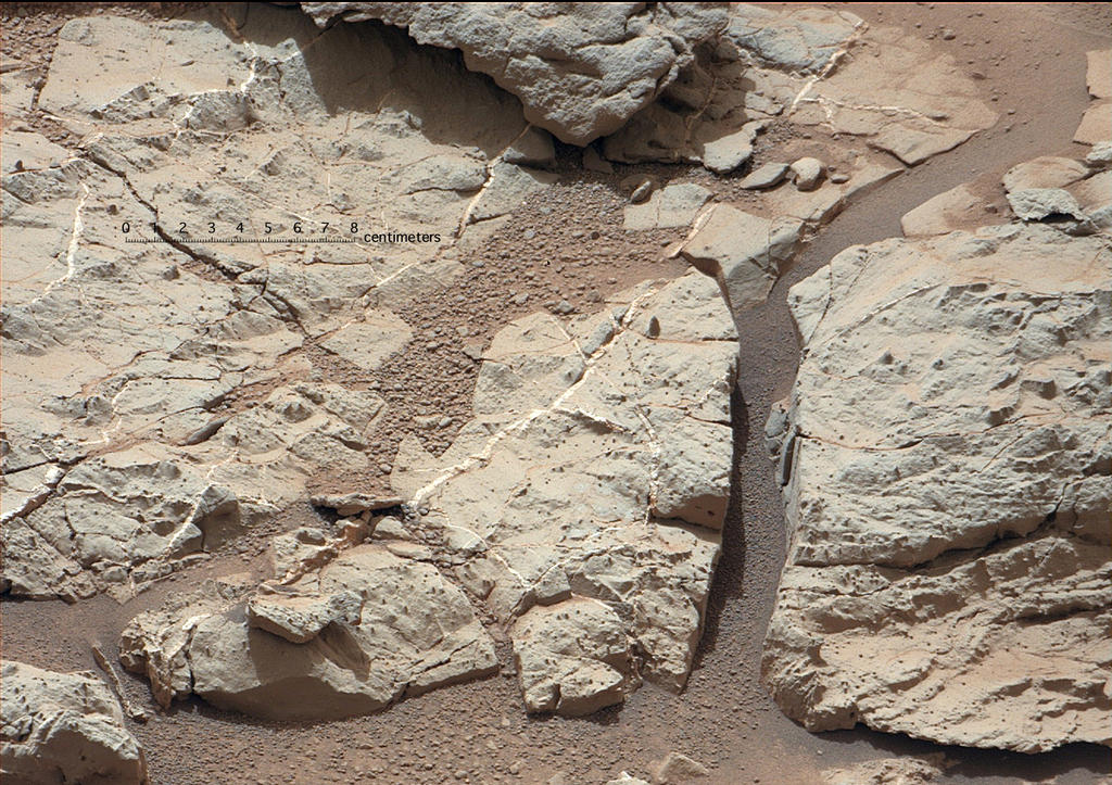 "This image of an outcrop at the ""Sheepbed"" locality, taken by NASA's Curiosity Mars rover with its right Mast Camera (Mastcam), shows well-defined veins filled with whitish minerals, interpreted as calcium sulfate."