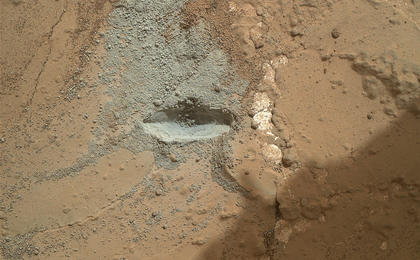 see the image 'Preparatory Test for First Rock Drilling by Mars Rover Curiosity'
