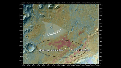"This false-color map shows the area within Gale Crater on Mars, where NASA's Curiosity rover landed on Aug. 5, 2012 PDT (Aug. 6, 2012 EDT) and the location where Curiosity collected its first drilled sample at the ""John Klein"" rock."
