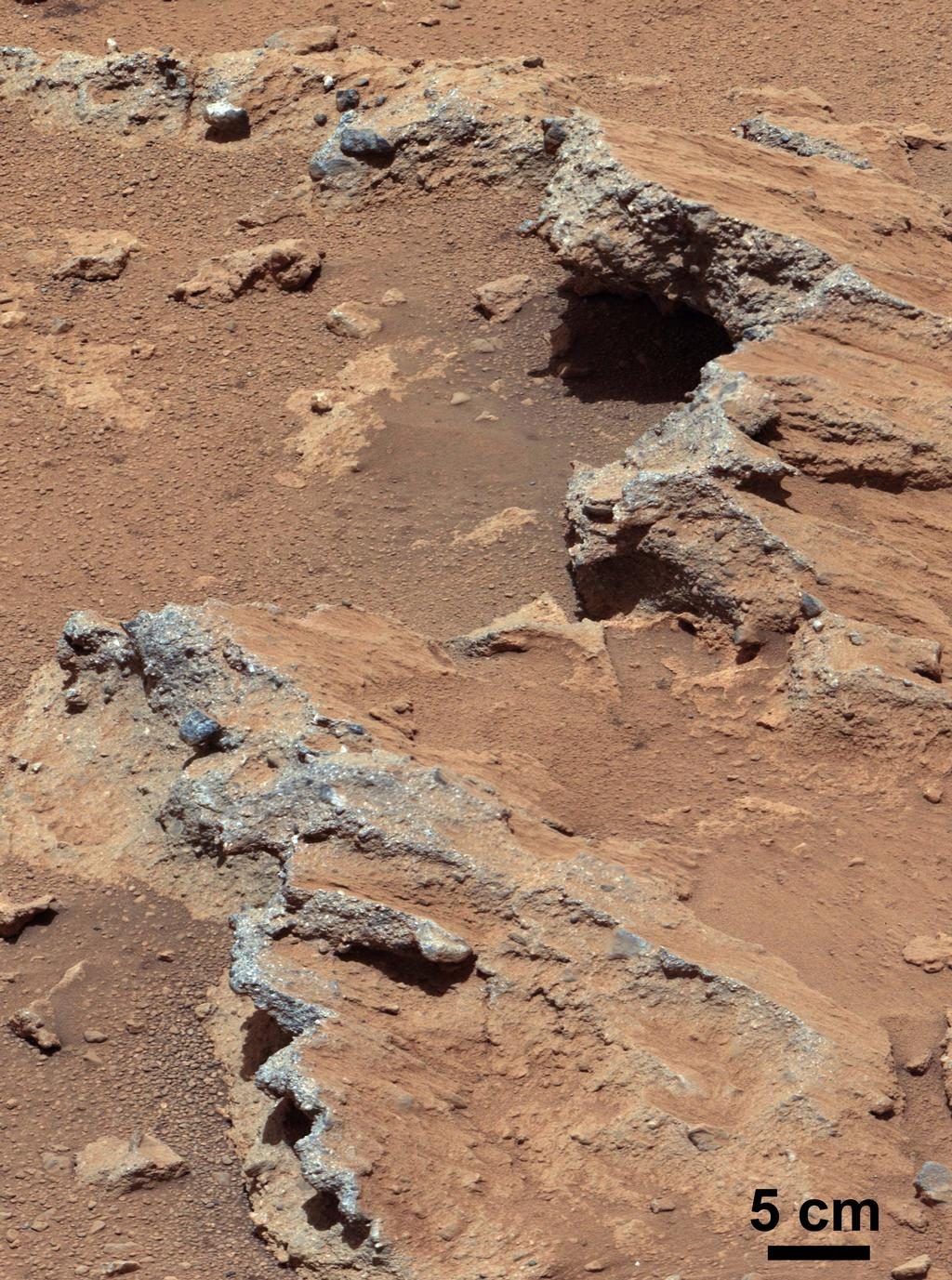 "NASA's Curiosity rover found evidence for an ancient, flowing stream on Mars at a few sites, including the rock outcrop pictured here, which the science team has named ""Hottah"" after Hottah Lake in Canada's Northwest Territories."