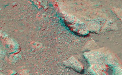 see the image 'Evidence About a Martian Streambed (Stereo)'