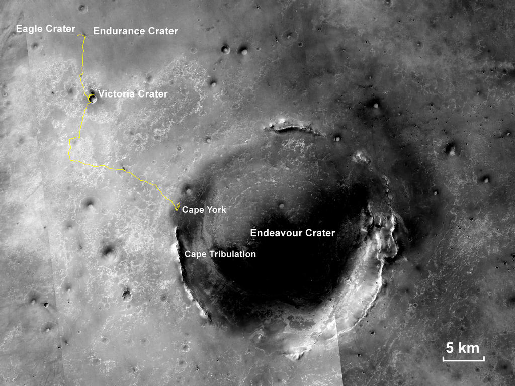 "This map shows the 22.553-mile (36.295-kilometer) route driven by NASA's Mars Exploration Rover Opportunity from the site of its landing, inside Eagle crater at the upper left, to its location more than 112 months later, in late May 2013, departing the ""Cape York"" section of the rim of Endeavour crater."