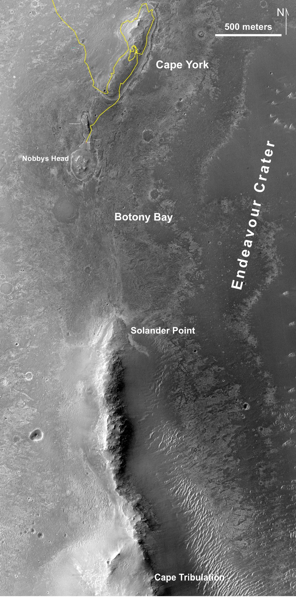 "This map of a portion of the western rim of Endeavour Crater on Mars shows the path of NASA's Mars Exploration Rover Opportunity as the rover is driving from the ""Cape York"" segment of the rim to its next destination, the ""Solander Point"" segment."
