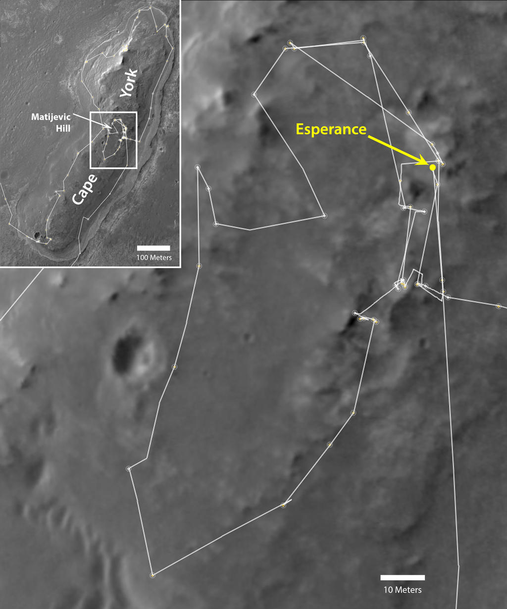 "NASA's Mars Exploration Rover Opportunity drove onto the ""Cape York"" segment of the rim of Endeavour Crater in August 2011 and departed Cape York in May 2013."