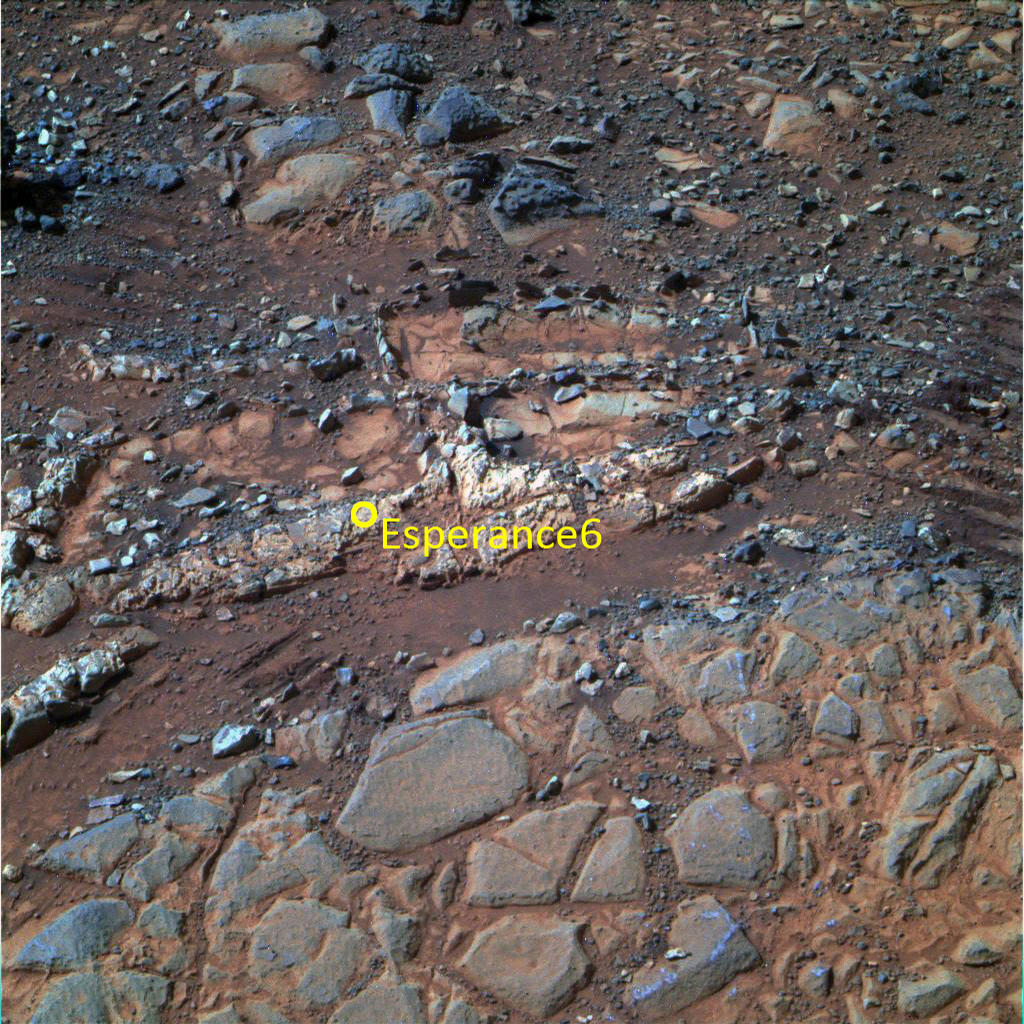 "This image from the panoramic camera (Pancam) on NASA's Mars Exploration Rover Opportunity shows a pale rock called ""Esperence,"" which was inspected by the rover in May 2013"