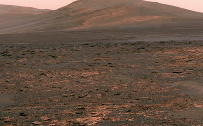 """NASA's Mars Exploration Rover Opportunity used its panoramic camera (Pancam) to acquire this view of """"Solander Point"""" during the mission's 3,325th Martian day, or sol (June 1, 2013)."""