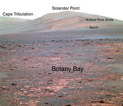 Opportunity's view of 'Solander Point' (False Color, Annotated)