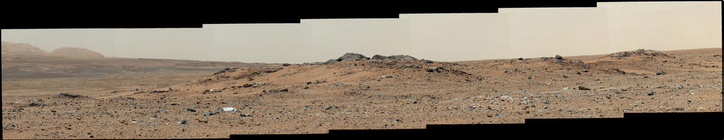 This scene combines seven images from the telephoto-lens camera on the right side of the Mast Camera (Mastcam) instrument on NASA's Mars rover Curiosity.
