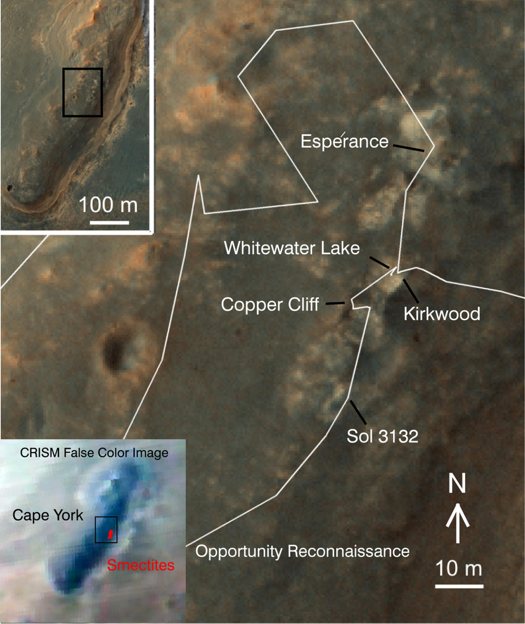 "A region known as ""Cape York"" on the western rim of Endeavour Crater, where NASA's Mars Exploration Rover Opportunity worked for 20 months, is highlighted in these images."