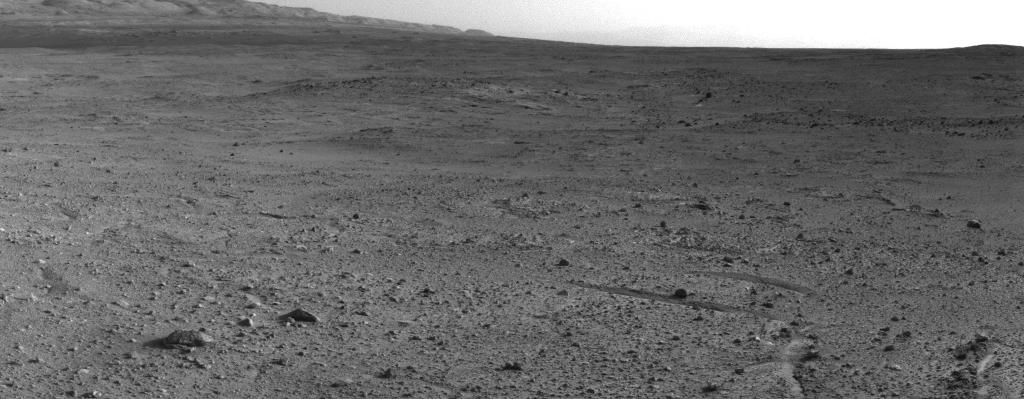 "NASA's Mars rover Curiosity captured this view using its Navigation Camera (Navcam) after reaching the top of a rise called ""Panorama Point"" with a drive during the 388th Martian day, or sol, of the rover's work on Mars (Sept. 8, 2013)."