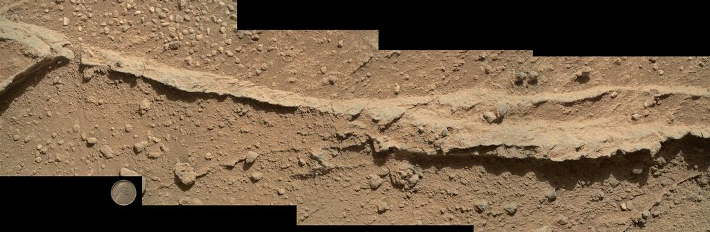 This mosaic of four images taken by the Mars Hand Lens Imager (MAHLI) camera on NASA's Mars rover Curiosity shows detailed texture in a ridge that stands higher than surrounding rock.