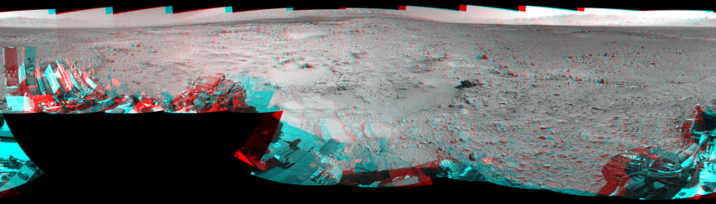 NASA's Mars rover Curiosity captured this stereo view using its Navigation Camera (Navcam) after a 17-foot (5.3 meter) drive on 477th Martian day, or sol, of the rover's work on Mars (Dec. 8, 2013). The scene appears three dimensional when viewed through red-blue glasses with the red lens on the left.