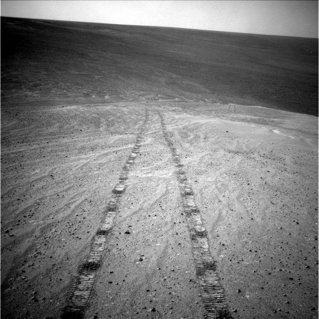 After driving uphill about 139 feet (42.5 meters) during the 3,485th Martian day, or sol, of its work on Mars (Nov. 12, 2013), NASA's Mars Exploration Rover Opportunity captured this image with its navigation camera