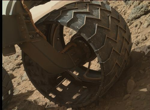 Left-Front Wheel of Curiosity Rover, Approaching Three Miles