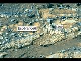 "This false-color view was taken by the panoramic camera (Pancam) on NASA's Mars Exploration Rover Opportunity on the 3,230th Martian day, or sol, of the rover's mission (Feb. 23, 2013). The rock targets known as ""Esperance6,"" and ""Lihir,"" are shown."