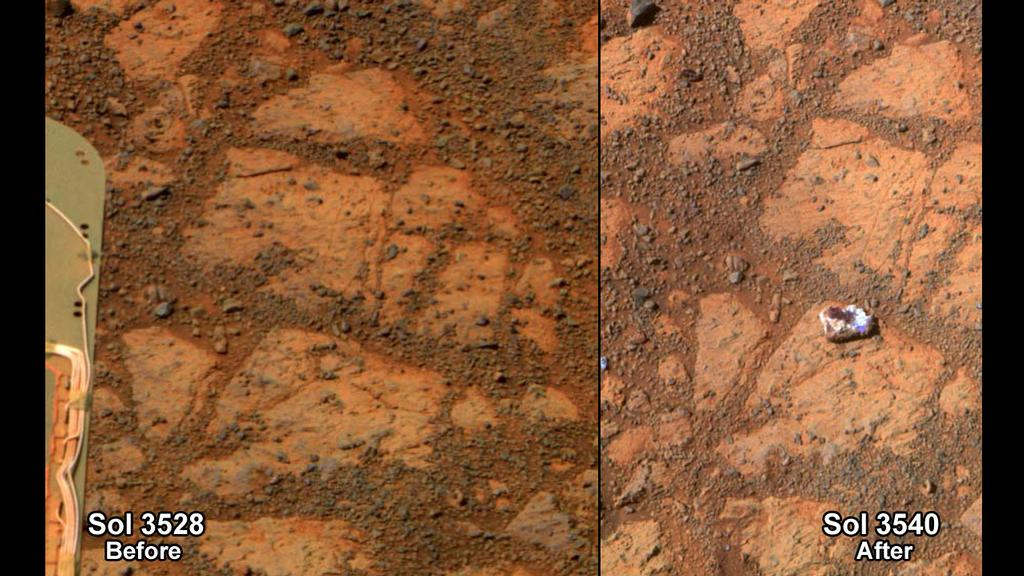 Opportunity sees a new rock on Mars
