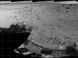 This mosaic of images from the Navigation Camera (Navcam) on NASA's Mars rover Curiosity shows the terrain surrounding the rover's position on the 524th Martian day, or sol, of the mission (Jan. 26, 2014). The images were taken right after Curiosity completed a drive of about 79 feet (24 meters).