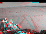 This stereo mosaic of images from the Navigation Camera (Navcam) on NASA's Mars rover Curiosity shows the terrain surrounding the rover's position on the 524th Martian day, or sol, of the mission (Jan. 26, 2014).
