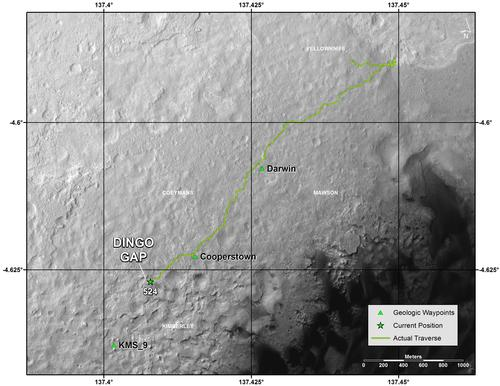 Traverse Map for Mars Rover Curiosity as of Jan. 26, 2014