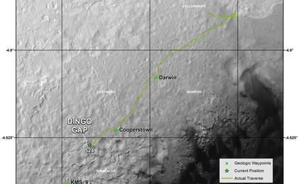 see the image 'Traverse Map for Mars Rover Curiosity as of Jan. 26, 2014'