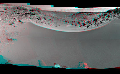 see the image 'Curiosity's View Past Dune at 'Dingo Gap' (Stereo)'