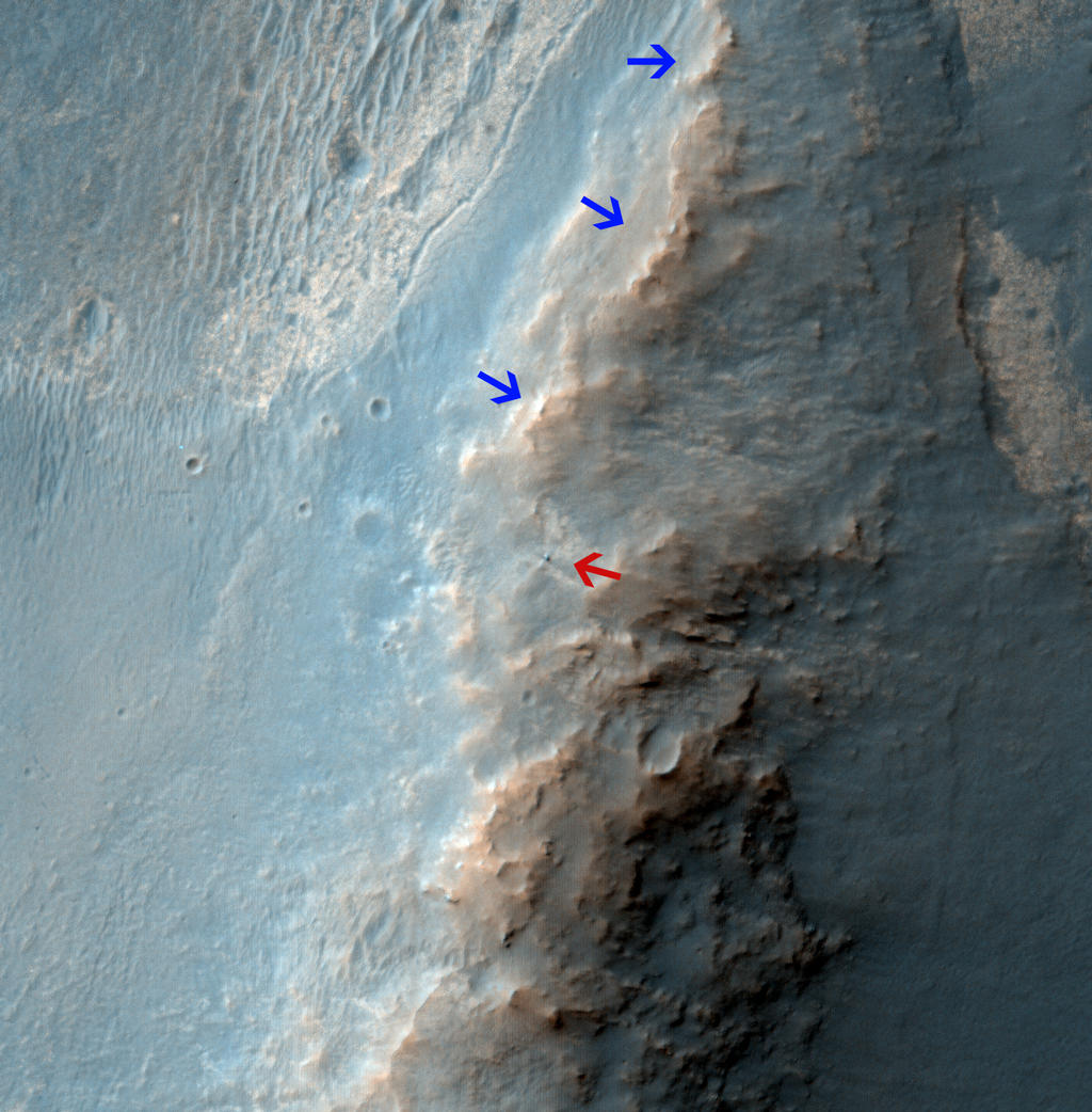 The High Resolution Imaging Science Experiment (HiRISE) camera on NASA's Mars Reconnaissance Orbiter caught this view of NASA's Mars Exploration Rover Opportunity on Feb. 14, 2014.