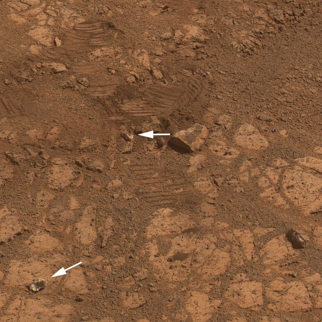 "This image from the panoramic camera (Pancam) on NASA's Mars Exploration Rover Opportunity shows the location of a rock called ""Pinnacle Island"" before it appeared in front of the rover in early January 2014."