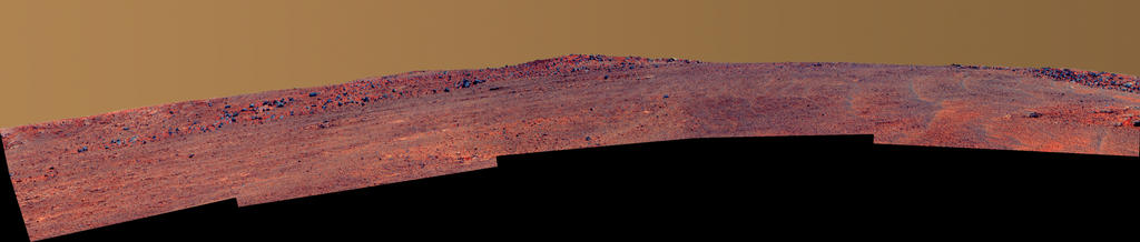 Opportunity's Southward View of 'McClure-Beverlin Escarpment' on Mars (False Color)