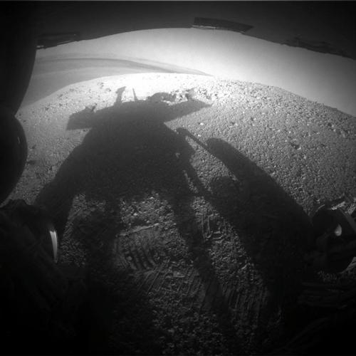 Shadow Portrait of NASA Rover Opportunity on Martian Slope
