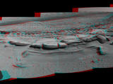 This March 18, 2014, stereo view from NASA's Curiosity Mars rover spans 160 degrees, centered southward, with an outcrop of eroded sandstone in the foreground. It appears three dimensional when viewed through red-blue glasses with the red lens on the left.