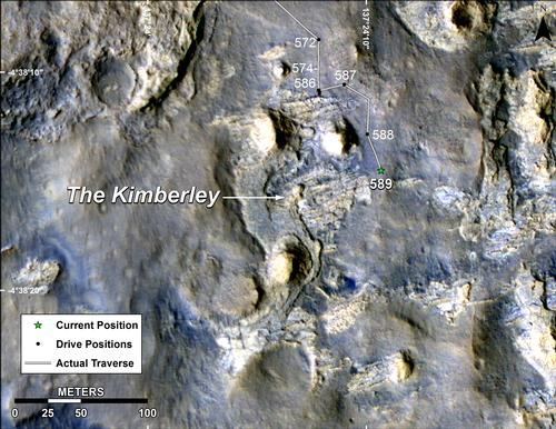 Map of Curiosity Mars Rover's Drives to 'the Kimberley' Waypoint