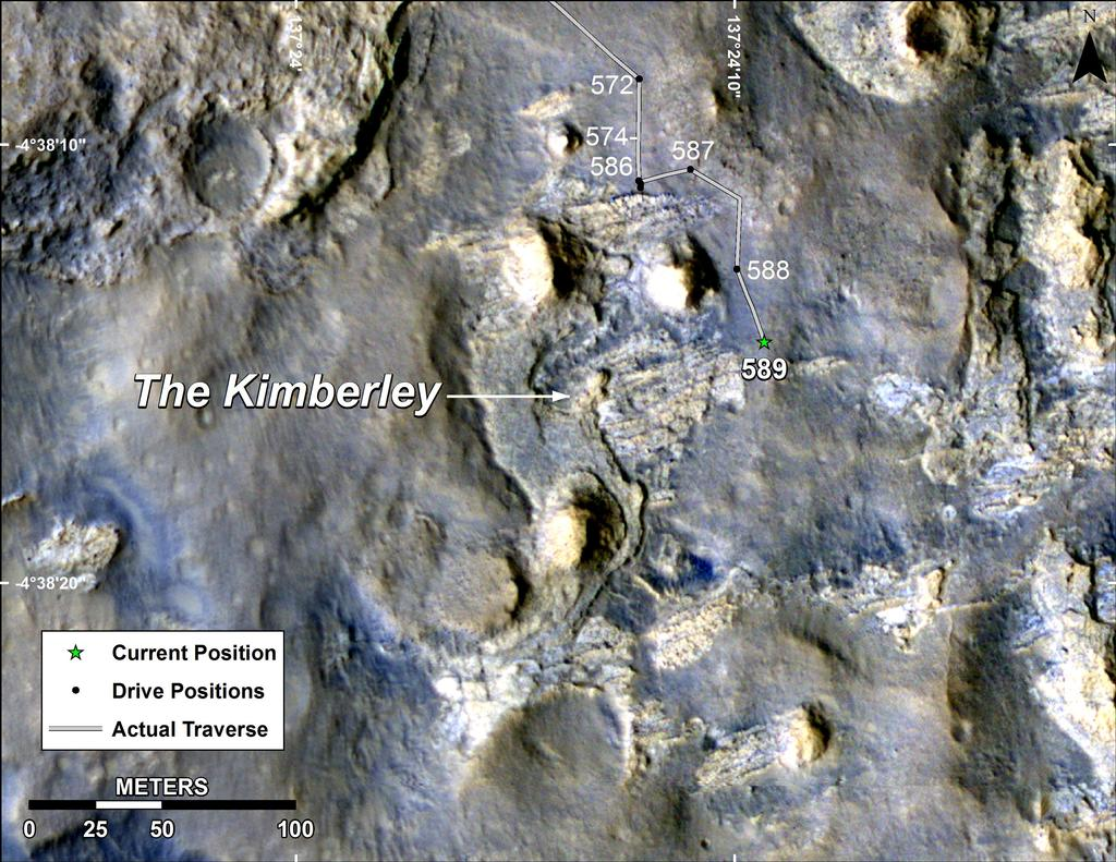 "This map shows the route driven by NASA's Curiosity Mars in its approach to and April 1, 2014, arrival at a waypoint called ""the Kimberley,"" which rover team scientists chose in 2013 as the location for the mission's next major investigations."