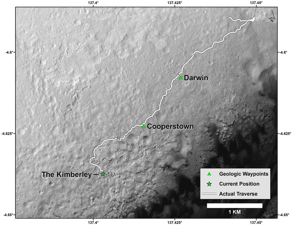 "This map shows the route driven by NASA's Curiosity Mars rover from the ""Bradbury Landing"" location where it landed in August 2012 (the start of the line in upper right) to a major waypoint called ""the Kimberley."""