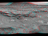 Stereo View of 'Mount Remarkable' and Surrounding Outcrops at Mars Rover's Waypoint