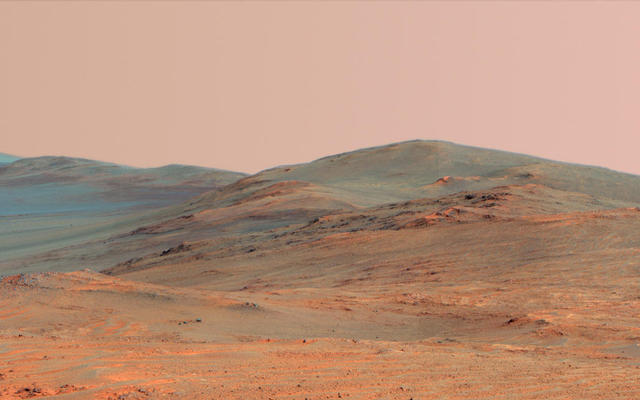 Endeavour Crater Rim From 'Murray Ridge' on Mars, False Color