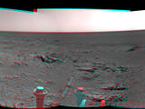 NASA's Mars Exploration Rover Opportunity used its navigation camera on May 10, 2014, to capture this stereo, 360-degree view near the ridgeline of Endeavour Crater's western rim. The center is southeastward. The view appears three-dimensional when seen through blue-red glasses.