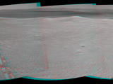 Component images for this stereo, 360-degree scene were taken by the navigation camera on NASA's Mars Exploration Rover Opportunity after a drive of about 97 feet southeastward on April 22, 2014. This vista of the rim of Endeavour Crater appears three-dimensional when seen through blue-red glasses.