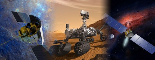 Artist concept of NASA's MESSENGER, Mars Science Laboratory and Dawn missions.
