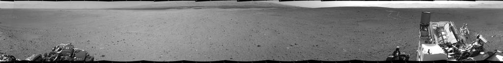 NASA's Mars rover Curiosity drove about 70 feet (about 21 meters) on the mission's 21st Martian day, or sol (Aug. 30, 2012) and then took images with its Navigation Camera that are combined into this scene, which includes the fresh tracks.