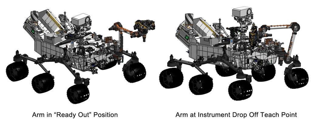 "This engineering drawing shows the arm on NASA's Curiosity's rover in its ""ready- for-action"" position, or ""ready out"" as engineers say, in addition to the position it assumes to drop off samples."