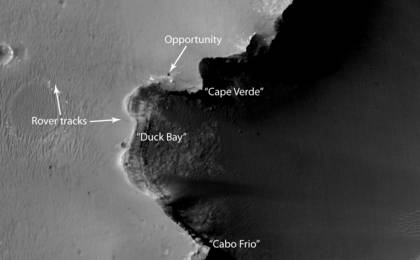 see the image 'Opportunity at Crater's 'Cape Verde' (Red Filter)'