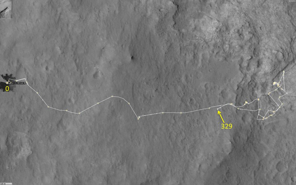 This map shows the route driven by NASA's Mars rover Curiosity through the 329 Martian day, or sol, of the rover's mission on Mars (July 10, 2013).