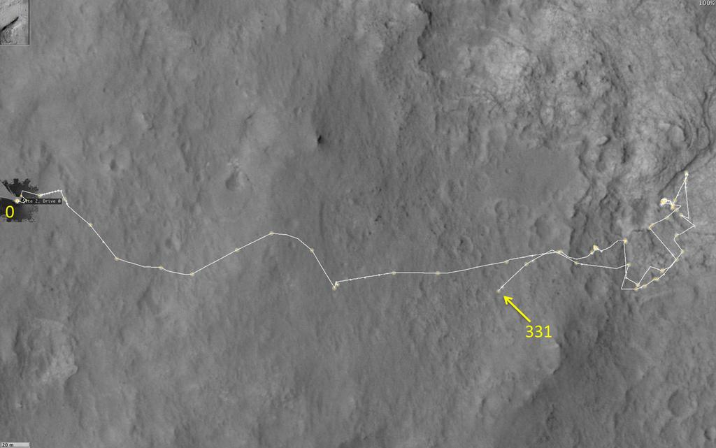 This map shows the route driven by NASA's Mars rover Curiosity through the 331 Martian day, or sol, of the rover's mission on Mars (July 12, 2013).