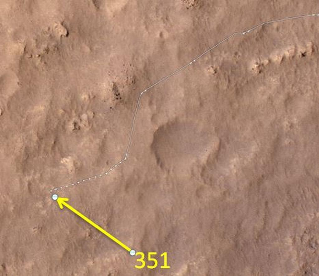 This map shows the route driven by NASA's Mars rover Curiosity through the 351 Martian day, or sol, of the rover's mission on Mars (August 1, 2013).