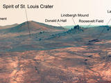 "Names related to the first solo nonstop flight across the Atlantic have been informally assigned to a crater NASA's Opportunity Mars rover is studying. This false-color view of the ""Spirit of St. Louis Crater"" and the ""Lindbergh Mound"" inside it comes from Opportunity's panoramic camera."