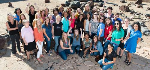 Some of the women working on NASA's Mars Science Laboratory Project, which built and operates the Curiosity Mars rover, gathered for this photo in the Mars Yard used for rover testing at NASA's Jet Propulsion Laboratory, Pasadena, California.
