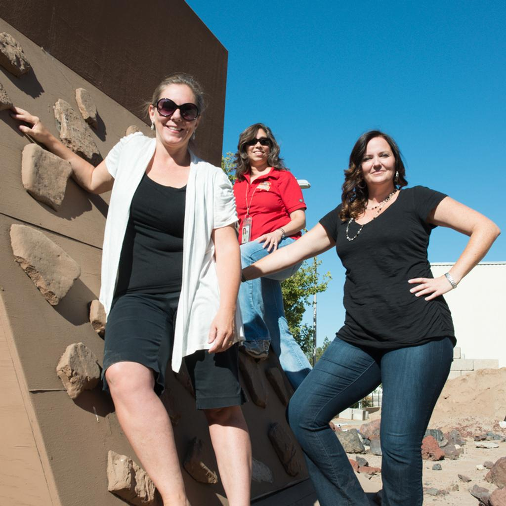 There's no wall these women can't climb. Pictured here are Jennifer Trosper (front), Micki Hurtado (center), and Nagin Cox (back).