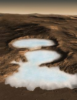 Artist concept of Glaciers on Mars